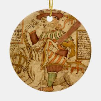 God Odin on his Eight-legged Horse Sleipnir - 4 Double-Sided Ceramic Round Christmas Ornament