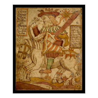 God Odin on his Eight-legged Horse Sleipnir Poster