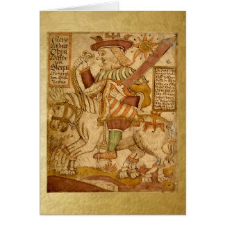 God Odin on his Horse Sleipnir - Blank Card