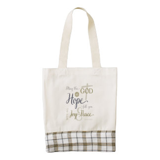 God of Hope Fill You with Joy & Peace Zazzle HEART Tote Bag