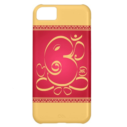 God  Om Ganesha on red Cover For iPhone 5C