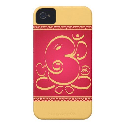 God  Om Ganesha on red iPhone 4 Cases
