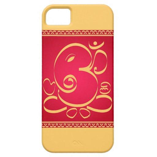 God  Om Ganesha on red iPhone 5 Cases