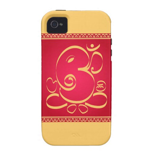 God  Om Ganesha on red iPhone 4/4S Cover