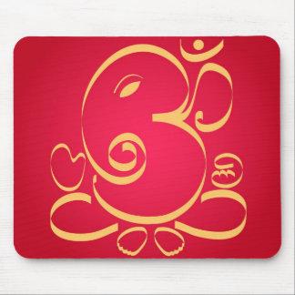 God  Om Ganesha on red Mouse Pad