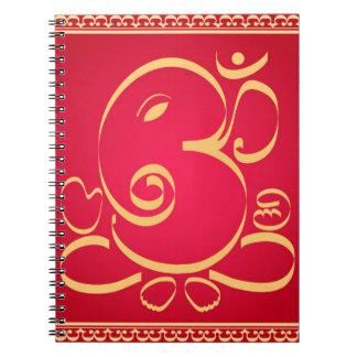 God Om Ganesha on red Spiral Note Book