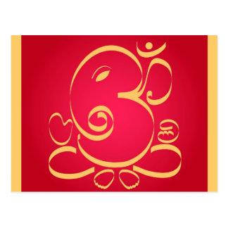 God  Om Ganesha on red Postcard