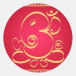God  Om Ganesha on red Round Stickers