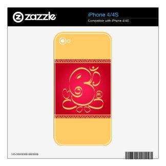 God  Om Ganesha on red Skin For The iPhone 4