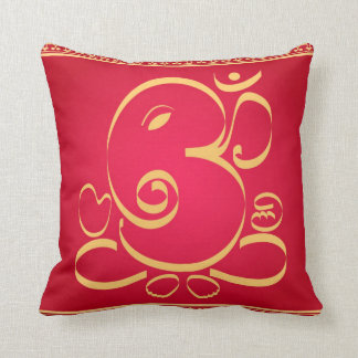God Om Ganesha on red Throw Pillow