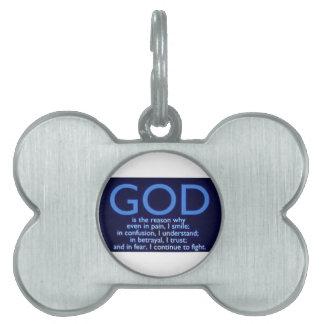God Pet Name Tag