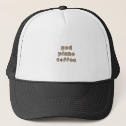 God Piano Coffee Funny Christian Musician Trucker Hat