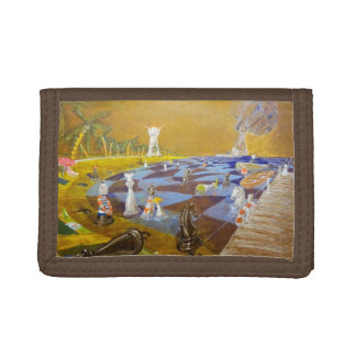 God Playing Chess Game Trifold Wallet
