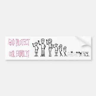 GOD PROTECT OUR FAMILY BUMPER STICKER