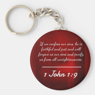 """God Quotes: 1 John 1:9 -- """"Confession and Forgiven Keychain"""