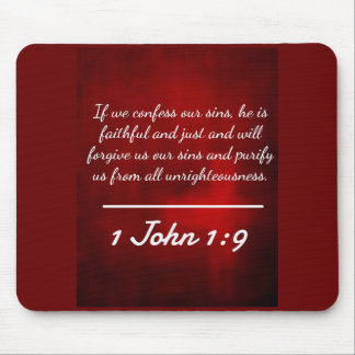 "God Quotes: 1 John 1:9 -- ""Confession and Forgiven Mouse Pad"
