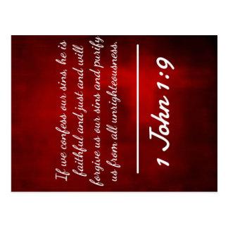 "God Quotes: 1 John 1:9 -- ""Confession and Forgiven Postcard"