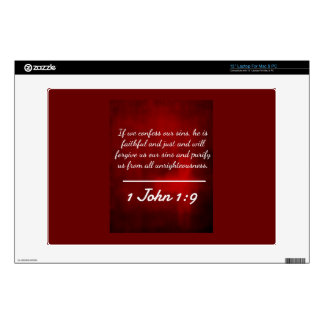 """God Quotes: 1 John 1:9 -- """"Confession and Forgiven 13"""" Laptop Skins"""