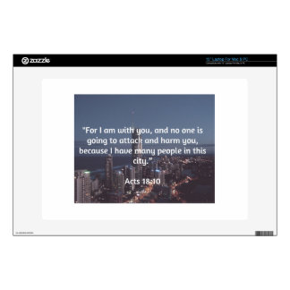 """God Quotes: Acts 18:10  -- """"No One Will Harm You"""" Decal For 13"""" Laptop"""