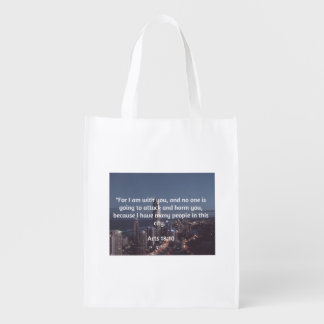 """God Quotes: Acts 18:10  -- """"No One Will Harm You"""" Reusable Grocery Bag"""