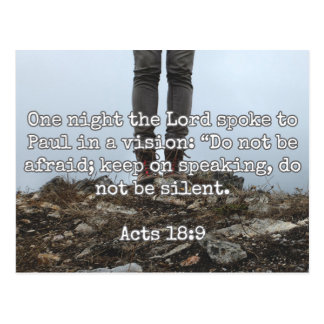 "God Quotes: Acts 18:9 -- ""Do Not Be Silent"" Postcard"