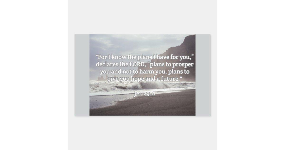 God Quotes Jer 2911 Gods Plan For You Rectangular Sticker