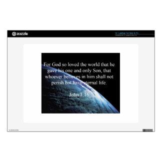 "God Quotes: John 3:16 -- ""God Loved The World"" Laptop Skins"