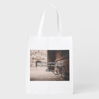 """God Quotes: Phil 4:13 -- """"God Gives Strength"""" Grocery Bag"""