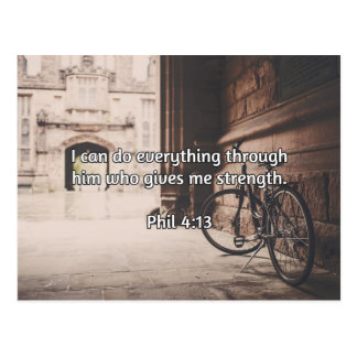 """God Quotes: Phil 4:13 -- """"God Gives Strength"""" Postcard"""