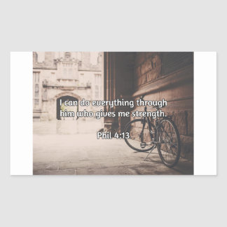 "God Quotes: Phil 4:13 -- ""God Gives Strength"" Rectangular Sticker"