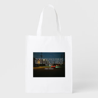 """God Quotes: Phil 4:8 -- """"Beware the Thief"""" Grocery Bag"""