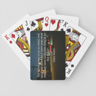 """God Quotes: Phil 4:8 -- """"Beware the Thief"""" Playing Cards"""