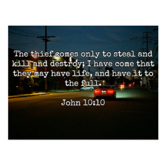 """God Quotes: Phil 4:8 -- """"Beware the Thief"""" Postcard"""