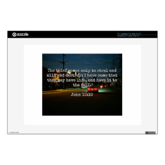 """God Quotes: Phil 4:8 -- """"Beware the Thief"""" Decals For 13"""" Laptops"""