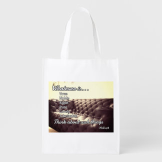 """God Quotes: Phil 4:8 -- """"Righteous and Pure"""" Reusable Grocery Bag"""