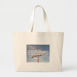 """God Quotes: Rom 5:8 -- """"Christ Died For Us"""" Jumbo Tote Bag"""