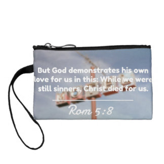 """God Quotes: Rom 5:8 -- """"Christ Died For Us"""" Coin Wallet"""