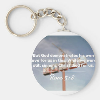 """God Quotes: Rom 5:8 -- """"Christ Died For Us"""" Basic Round Button Keychain"""