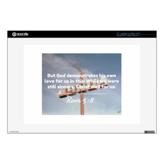 """God Quotes: Rom 5:8 -- """"Christ Died For Us"""" Skins For Laptops"""