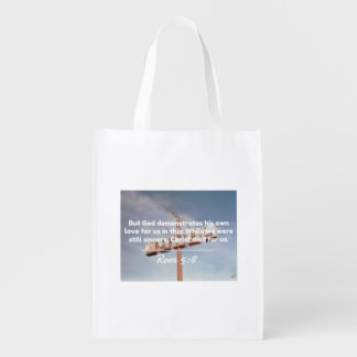 """God Quotes: Rom 5:8 -- """"Christ Died For Us"""" Grocery Bags"""