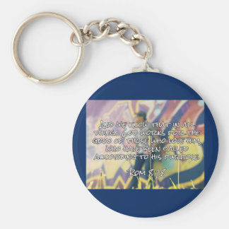 """God Quotes: Rom. 8:28 -- """"God Works For Good"""" Key Chains"""
