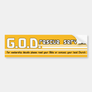 GOD Rescue Service Christian bumper sticker