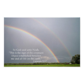 God s Promise to Noah in the Rainbow Posters