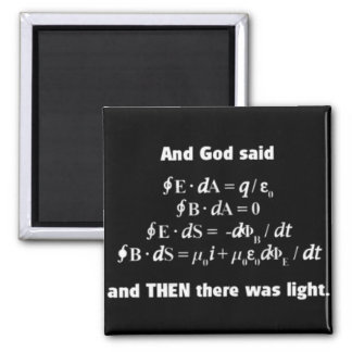 God Said Let There Be Light Religious Satire 2 Inch Square Magnet