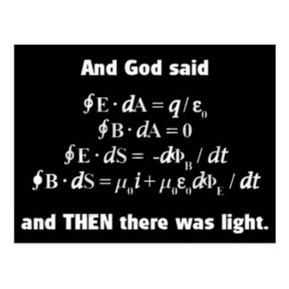 God Said Let There Be Light Religious Satire Postcard