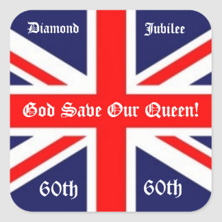 God Save Our Queen!-60 years/British Flag Square Sticker
