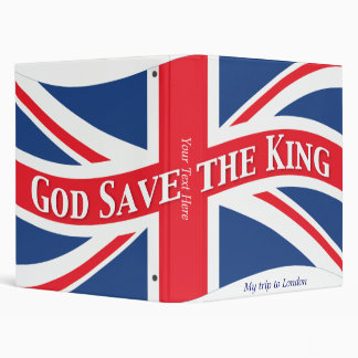 God Save the King with Union Jack 3 Ring Binder