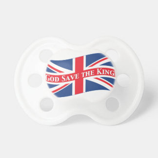 God Save the King with Union Jack Baby Pacifiers