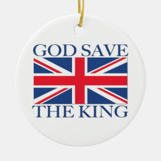 God Save the King with Union Jack Ceramic Ornament