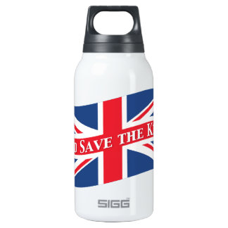 God Save the King with Union Jack Insulated Water Bottle